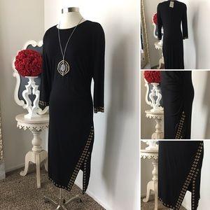 🌺Carmen Marc Valvo  Black Dress w/ Gold Grommet